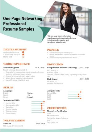 One Page Networking Professional Resume Samples Presentation Report Infographic PPT PDF Document