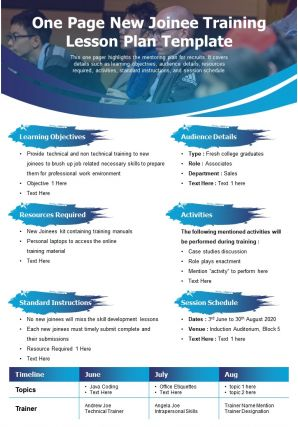 One Page New Joinee Training Lesson Plan Template Presentation Report Infographic PPT PDF Document
