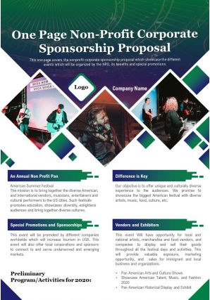 One Page Non Profit Corporate Sponsorship Proposal Presentation Report Infographic PPT PDF Document