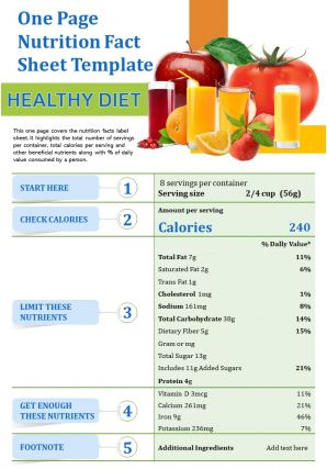 One Page Nutrition Fact Sheet Template Presentation Report Infographic Ppt Pdf Document