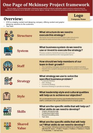 One Page Of Mckinsey Project Framework Presentation Report Infographic PPT PDF Document