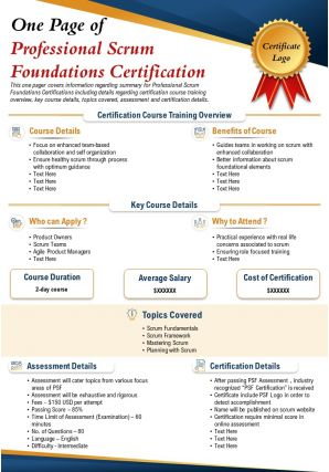 One Page Of Professional Scrum Foundations Certification Presentation Report PPT PDF Document
