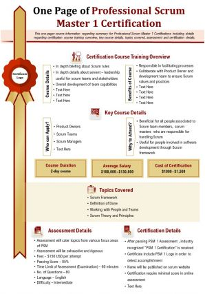 One Page Of Professional Scrum Master 1 Certification Presentation Report Ppt PDF Document