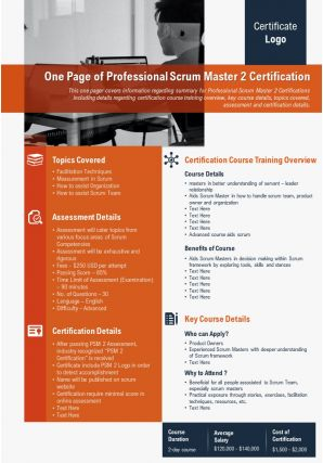 One Page Of Professional Scrum Master 2 Certification Presentation Report PPT PDF Document