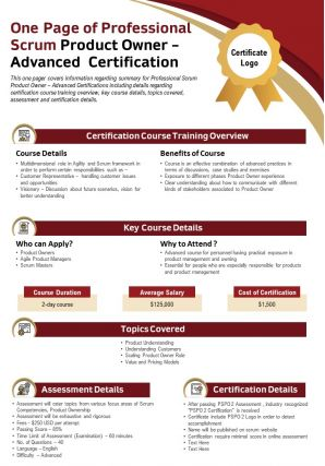 One Page Of Professional Scrum Product Owner Advanced Certification Report PPT PDF Document