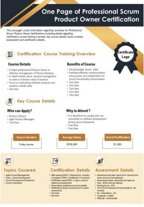 One Page Of Professional Scrum Product Owner Certification Presentation Report PPT PDF Document