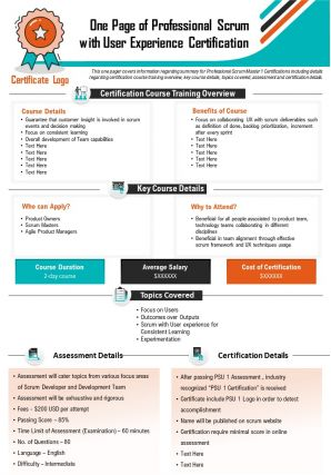 One Page Of Professional Scrum With User Experience Certification Presentation Report PPT PDF Document