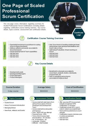 One Page Of Scaled Professional Scrum Certification Presentation Report PPT PDF Document