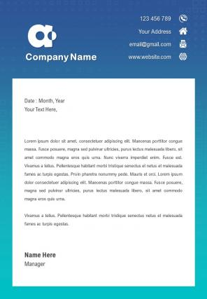One Page Official Letterhead Design Template