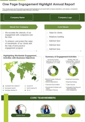 One Page One Page Engagement Highlight Annual Report Template 324 Presentation Report Infographic PPT PDF Document