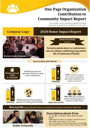 One Page Organization Contribution To Community Impact Report Presentation Report Infographic PPT PDF Document