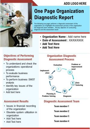 One Page Organization Diagnostic Report Presentation Report Infographic PPT PDF Document