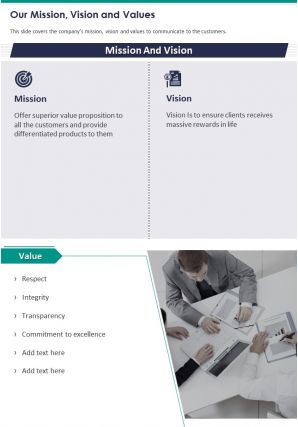 One Page Our Mission Vision And Values Presentation Report Infographic PPT PDF Document