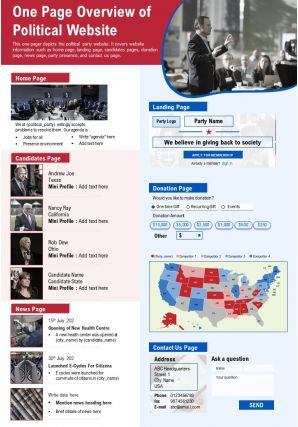One Page Overview Of Political Website Presentation Report Infographic PPT PDF Document