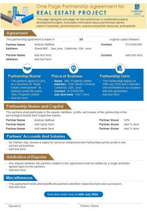 One Page Partnership Agreement For Real Estate Project Presentation Report Infographic PPT PDF Document