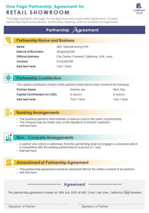 One Page Partnership Agreement For Retail Showroom Presentation Report Infographic PPT PDF Document