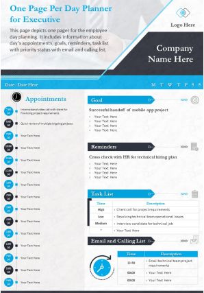 One Page Per Day Planner For Executive Presentation Report Infographic PPT PDF Document