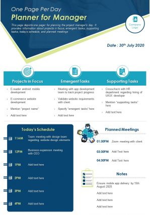 One Page Per Day Planner For Manager Presentation Report Infographic PPT PDF Document