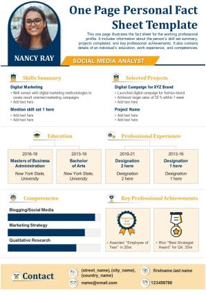 One Page Personal Fact Sheet Template Presentation Report Infographic Ppt Pdf Document