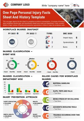One Page Personal Injury Facts Sheet And History Template Report PPT PDF Document