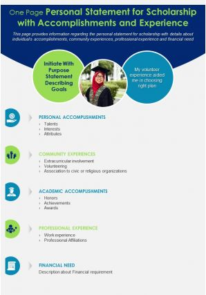 One Page Personal Statement For Scholarship With Accomplishments And Experience Report Infographic PPT PDF Document