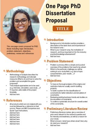 One Page PhD Dissertation Proposal Presentation Report Infographic PPT PDF Document