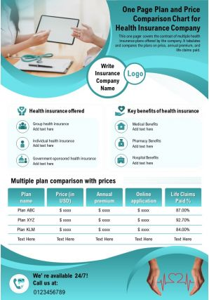 One Page Plan And Price Comparison Chart For Health Insurance Company Report Infographic PPT PDF Document