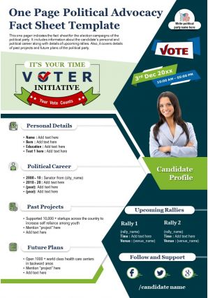 One Page Political Advocacy Fact Sheet Template Presentation Report PPT PDF Document