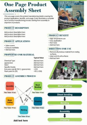 One Page Product Assembly Sheet Presentation Report Infographic Ppt Pdf Document