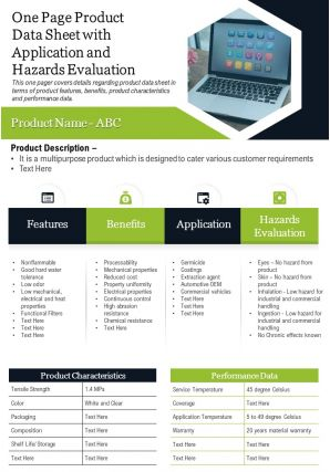 One Page Product Data Sheet With Application And Hazards Evaluation Report Infographic PPT PDF Document