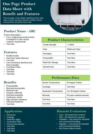 One Page Product Data Sheet With Benefit And Features Presentation Report Infographic PPT PDF Document