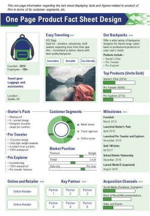 One Page Product Fact Sheet Design Report PPT PDF Document