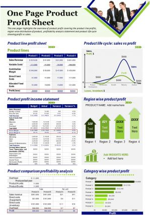 One Page Product Profit Sheet Presentation Report Infographic PPT PDF Document