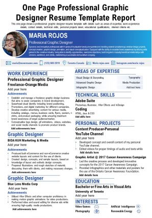 One Page Professional Graphic Designer Resume Template Report Presentation Report Infographic PPT PDF Document