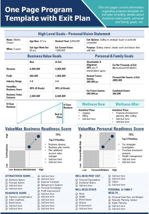 One Page Program Template With Exit Plan Presentation Report Infographic PPT PDF Document