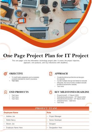 One Page Project Plan For It Project Presentation Report Infographic PPT PDF Document