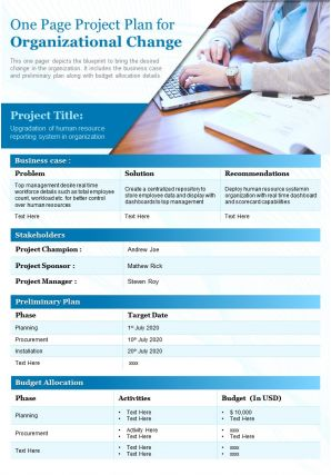 One Page Project Plan For Organizational Change Presentation Report Infographic PPT PDF Document