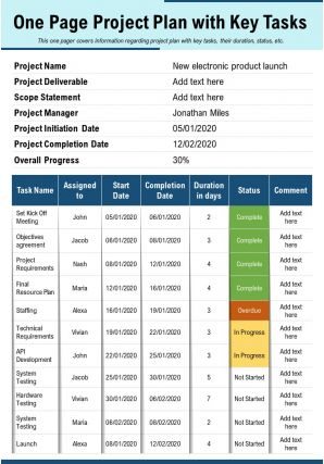 One Page Project Plan With Key Tasks Presentation Report Infographic PPT PDF Document