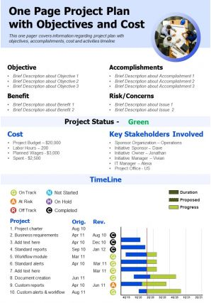 One Page Project Plan With Objectives And Cost Presentation Report Infographic PPT PDF Document