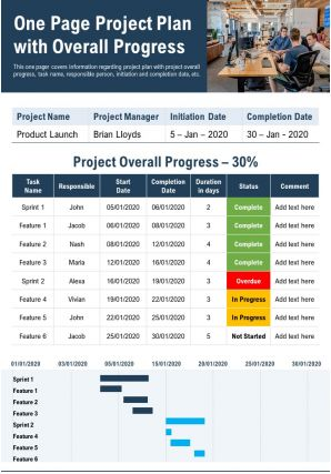 One Page Project Plan With Overall Progress Presentation Report Infographic PPT PDF Document