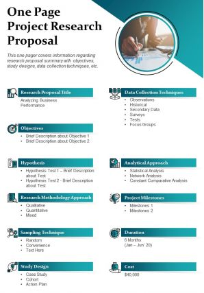 One Page Project Research Proposal Presentation Report Infographic PPT PDF Document