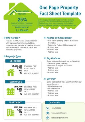 One Page Property Fact Sheet Template Presentation Report Infographic Ppt Pdf Document
