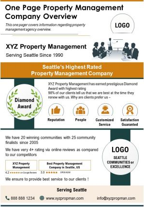 One Page Property Management Company Overview Presentation Report Infographic PPT PDF Document
