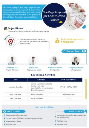 One Page Proposal For Construction Project Presentation Report Infographic PPT PDF Document