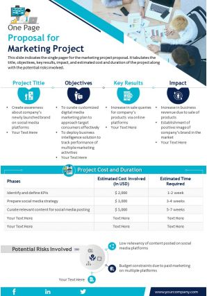 One Page Proposal For Marketing Project Presentation Report Infographic PPT PDF Document