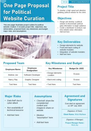 One Page Proposal For Political Website Curation Presentation Report Infographic PPT PDF Document