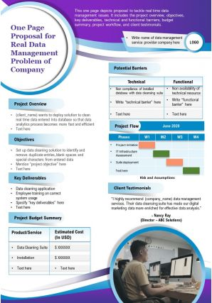 One Page Proposal For Real Data Management Problem Of Company Presentation Report Infographic PPT PDF Document