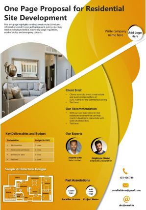 One Page Proposal For Residential Site Development Presentation Report Infographic PPT PDF Document