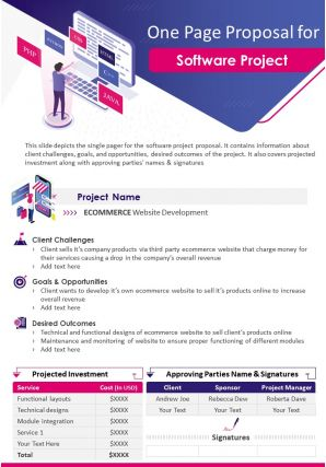 One Page Proposal For Software Project Presentation Report Infographic PPT PDF Document