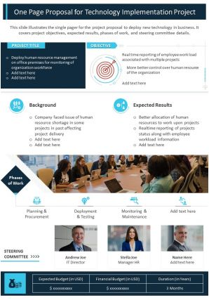 One Page Proposal For Technology Implementation Project Presentation Report Infographic PPT PDF Document